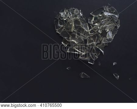 Abstract Broken Heart With Broken Glass Heart Shape For Break My Heart Or Broken Heart Concept.