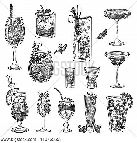 Cocktail Glasses Sketches Set. Hand Drawn Martini, Gin, Wine, Margarita, Cognac, Goblet, Liquor, Sco