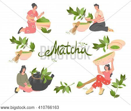 Big Set With People Drinking Matcha Green Tea, Flat Vector Illustration Isolated On White Background
