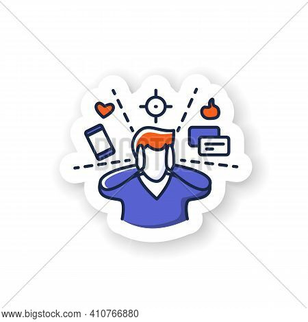 Attention Focus Sticker. Man Limiting Attention And Ignoring Social Media Distractions Badge For Des