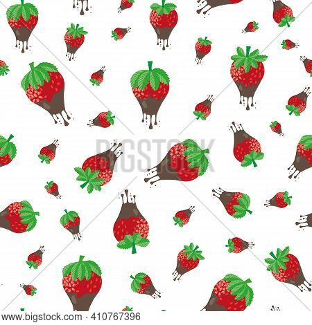 Chocolate Dipped Strawberry Seamless Vector Pattern Background. Painterly Red Berries Dripping With