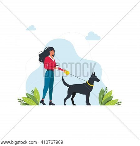 A Woman Is Walking With A Dog. Isolated On White Background. A Young Girl Is Walking With A Big Dog