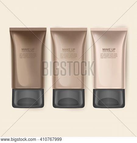 3d Realistic Poster With Concealer, Beige Cosmetics Product In Plastic Package. Premium Foundation F