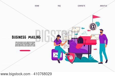 Email Business Service Website Interface Design With People Next To Mailbox Receiving Correspondence