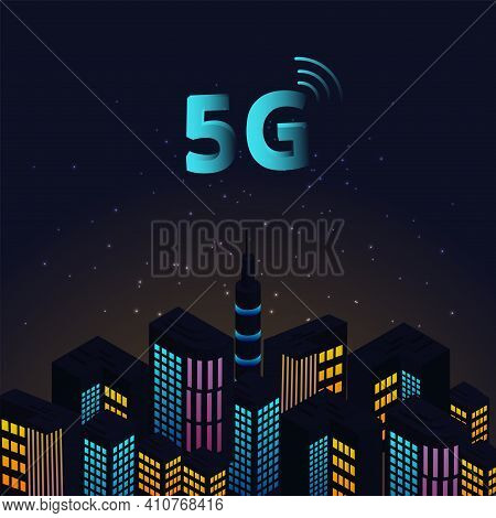 Smart City And Communication Network Concept.5g Network Logo Over The Smart City With Of Town Infras