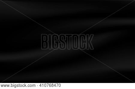 Black Wrinkled Creased Fabric Texture Background.cloth Soft Wave.vector Eps 10