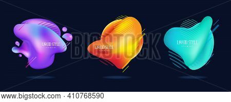 Set Of Abstract Liquid Shape. Fluid Design, Abstract Modern Graphic Elements. Dynamical Colored Form