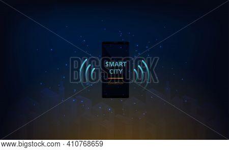 Smart City And Communication Network.smartphone Control Smart City Automation.smartphone On The Smar