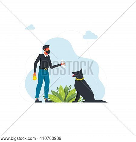 Man With Bone And Dog On Blue Background. Vector Illustration. Dog Training And Treat. Work With Ani