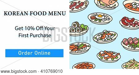 Korean Food Web Banner. Set Of Traditional Korean Dishes Template For Landing, Web Page, Layout.east