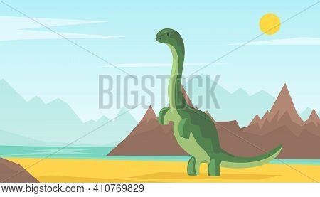 Dinosaur World, Adventure Park Poster, Card, Background, Prehistoric Animals Concept Cartoon Vector