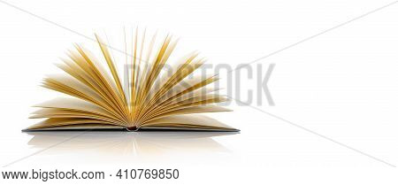 Close Up Of An Open Book With Copy Space