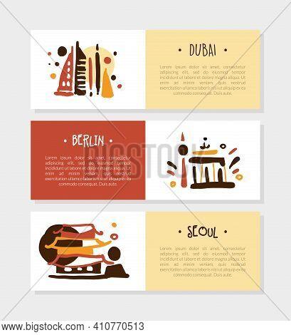 Berlin, Dubai, Seoul Tourist Brochure Template, Promo Flyer, Booklet, Leaflet Layout Vector Illustra