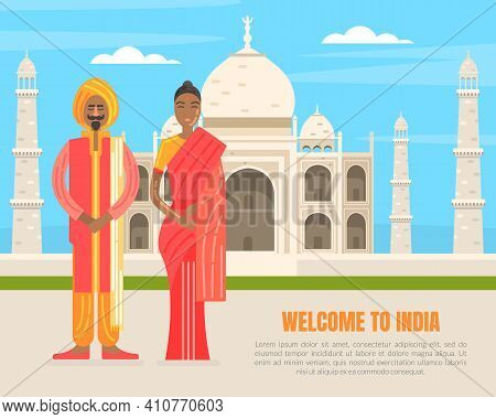 Welcome To India Banner Template, Indian Couple Wearing Traditional Costume Standing In Front Of Taj