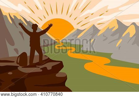 Man Climbing To The Snow-capped Mountains Delight From The Conquest Of The Peak Landscape Of The Val