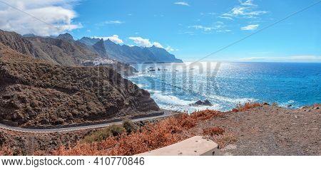 View Of Anaga Mountain In Mirador De Benijo Playa, Wild Beach In North Of Tenerife Canary Islands, S