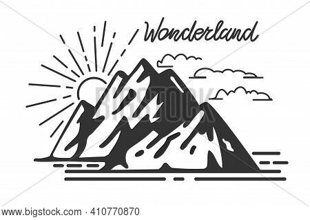 Vintage Mountains And Retro Lettering Wonderland Vector Illustration Typography Artwork