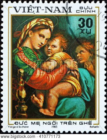 Vietnam - Circa 1983: A Stamp Printed In Vietnam Shows Virgin Mother Seated On Chair, Painting By Ra