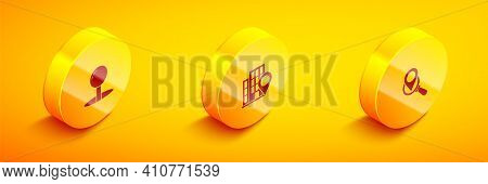 Set Isometric Push Pin, Location With House And Search Location Icon. Vector