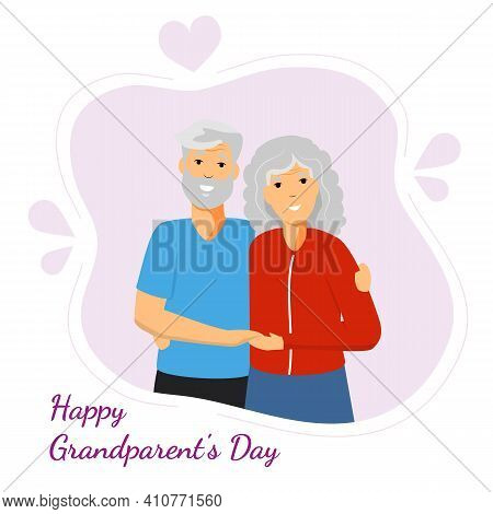 Happy Grandparents Day Greeting With Smiling Grandfather And Grandmother Vector Illustration