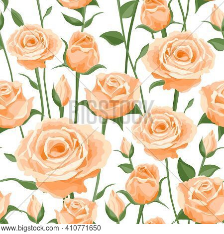 Seamless Pattern Of Cream Roses. Vector Flower Pattern, Print, Rapport For Textiles, Covers, Paper.