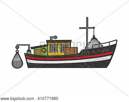 Fishing Boat Color Sketch Engraving Vector Illustration. T-shirt Apparel Print Design. Scratch Board