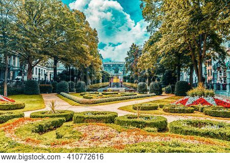 Garden Of Small Sablon (jardin Du Petit Sablon), Brussels, Belgium.