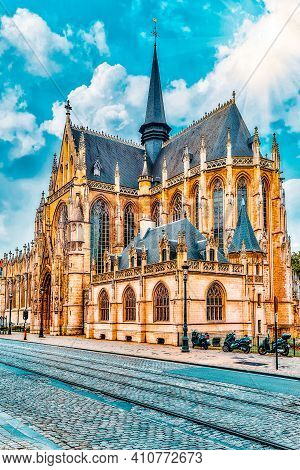 Notre Dame Du Sablon's Cathedral In Brussels, Belgium And The European Union's Capital.