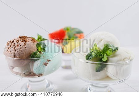 Summertime. Ice-cream Scoops In Glass Sundae Bowls. Holiday, Vacation, Summer Delicious Refreshing T