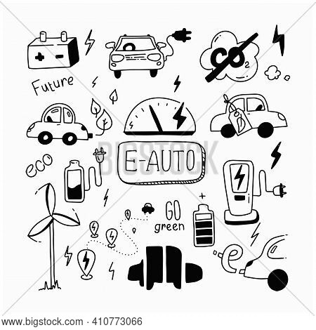 E Car Doodle Set. Green Energy And E Auto. Sketch Ecology Transport. Clean Auto. Co2 Neutral. Rechar