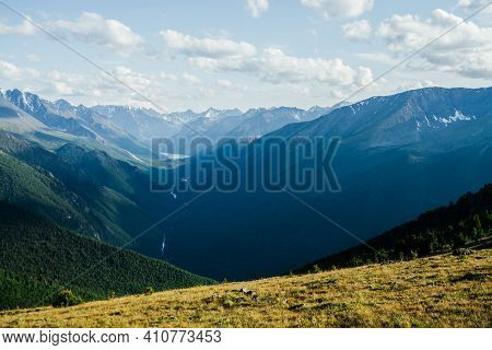 Awesome Vivid View To Great Mountains, Glacier And Green Forest Valley With Alpine Lake And River. B
