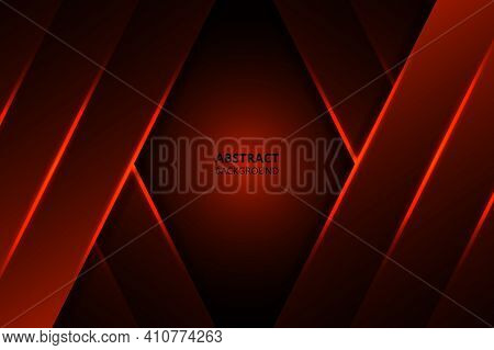 Geometric Red Shapes, Shimmering Stripes And Lines On A Dark Gradient. Modern Abstract Graphic Desig