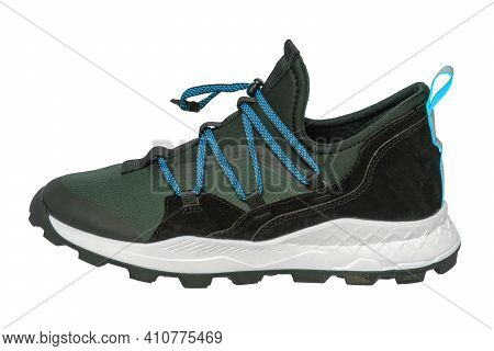 Mans Sport Shoes. Close-up Of A Single Of Green Sneaker Or Sport Shoe Isolated On A White Background