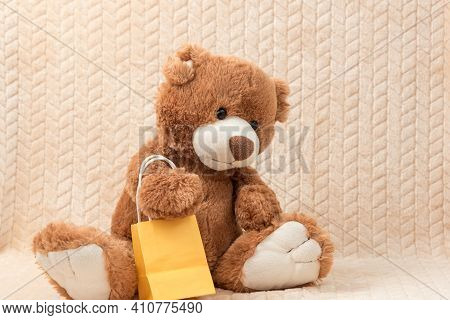 Stuffed Toy Animal Teddy Bear With A Gift Bag Sits On The Plush Plaid On Sofa. The Concept Of A Chil
