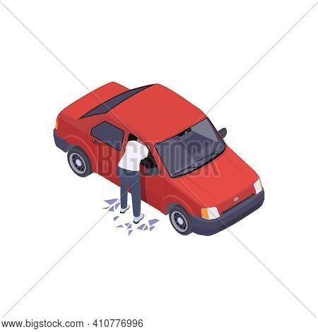 Gang Crime Robbery Stealing Isometric Composition With Man Breaking Car Window Stealing Goods Vector