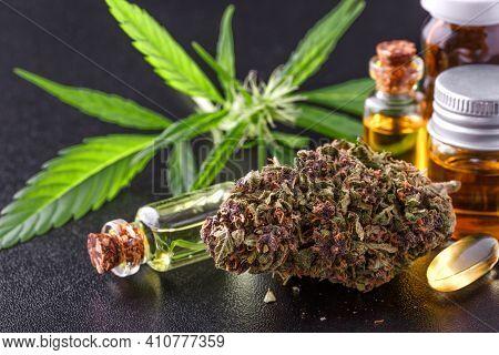 Medical Marijuana Flower Buds. Recreational Marijuana Strain. Cannabis Strain. Weed Bud In The Glass