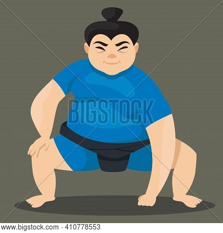 Female Sumo Wrestler In Attacking Position. Japan Character In Cartoon Style.