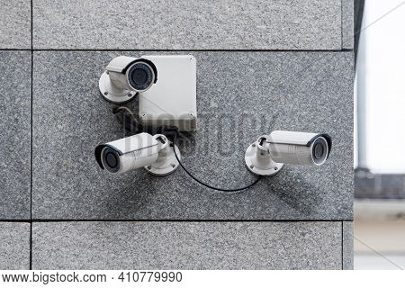 Security Cameras On Modern Building. Professional Surveillance Camera. Cctv On The Wall With Led Ir