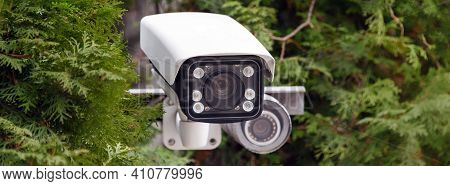 Covert Video Surveillance. Cctv Security Camera Or Radar For Monitoring The Speed Of Cars Mounted Am