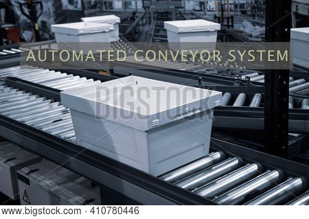 Automated Conveyor Logistics Warehouse System. Automatic Sorting System Of Plastic Tray In Industry