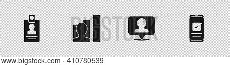 Set Identification Badge, Productive Human, Location With Person And Smartphone Icon. Vector