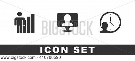 Set Productive Human, Location With Person And Time Management Icon. Vector