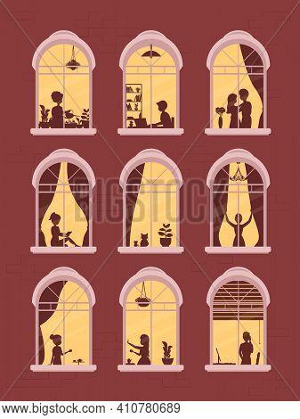 Neighborhood, Stay At Home Concept. Neighbors People Characters. Communication Via Internet, Chattin