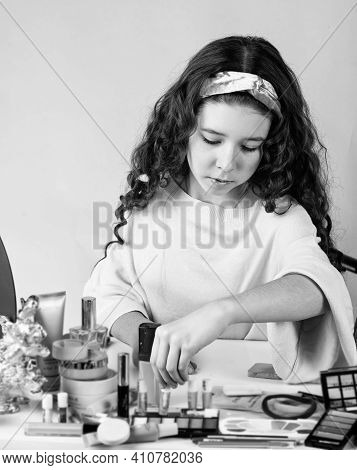 Little Girl With Happy Face. Smiling Girl Have Fun On Spa Beauty Salon Party. Beauty Portrait Of Chi
