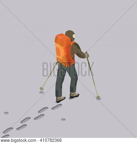 Trekking with backpack in the snow field in isometric; A man with a backpack and trekking poles walks in the snow leaving footprints; Hiking and Trekking