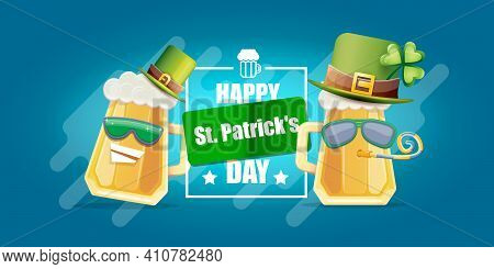 Happy St. Patricks Day Horizontal Banner With Cartoon Funny Beer Glass Friends Characters With Sungl