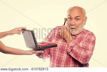 Barber Self Care. Grooming Beard Set. Barbershop Concept. Man Senior Bearded Handsome Barber Use Too
