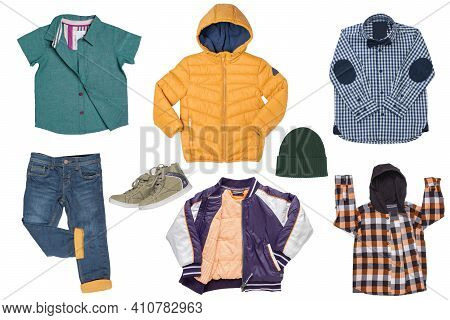 Collage Set Of Little Boy Spring Clothing Isolated On A White Background. Denim Trouser Or Pants, A
