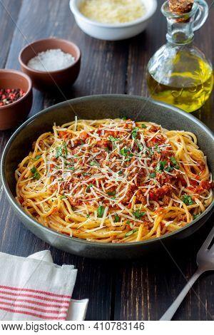 Italian Pasta Spaghetti Bolognese. National Cuisine. Recipe. Italian Food.