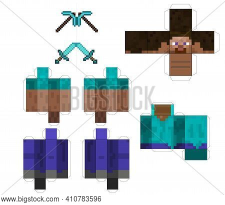 Papercraft Pixel Character. Papercraft 5 Classic Blocks. Pixel Background. The Concept Of Games Back